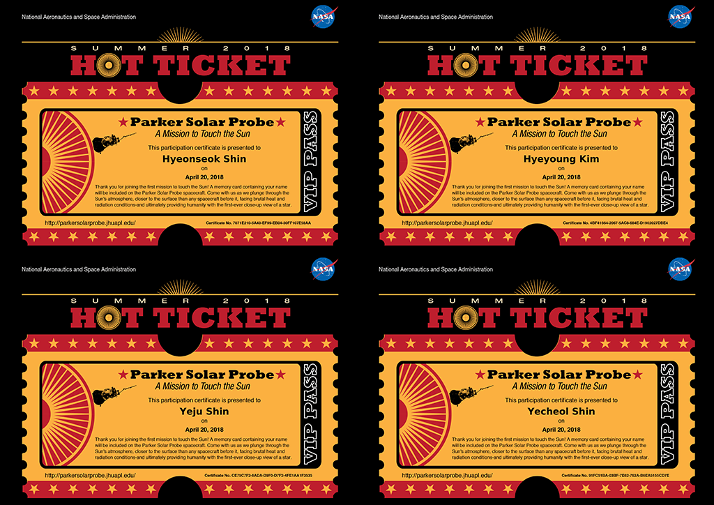 Ticket for Parker Solar Probe
