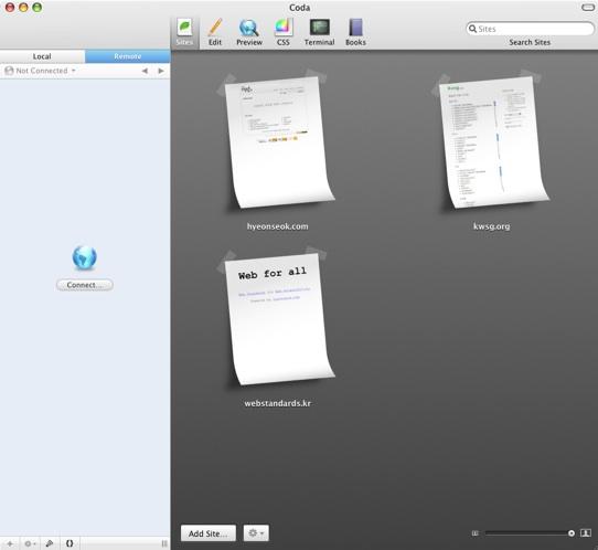 코다의 사이트 관리 화면; 사이트의 썸네일이 표현된다.