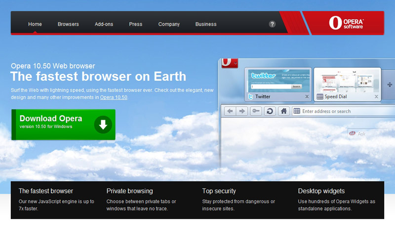 Opera 10.50 Web browser The fastest browser on Earth: Surf the Web with lightning speed, using the fastest browser ever. Check out the elegant, new design and many other improvements in Opera 10.50.