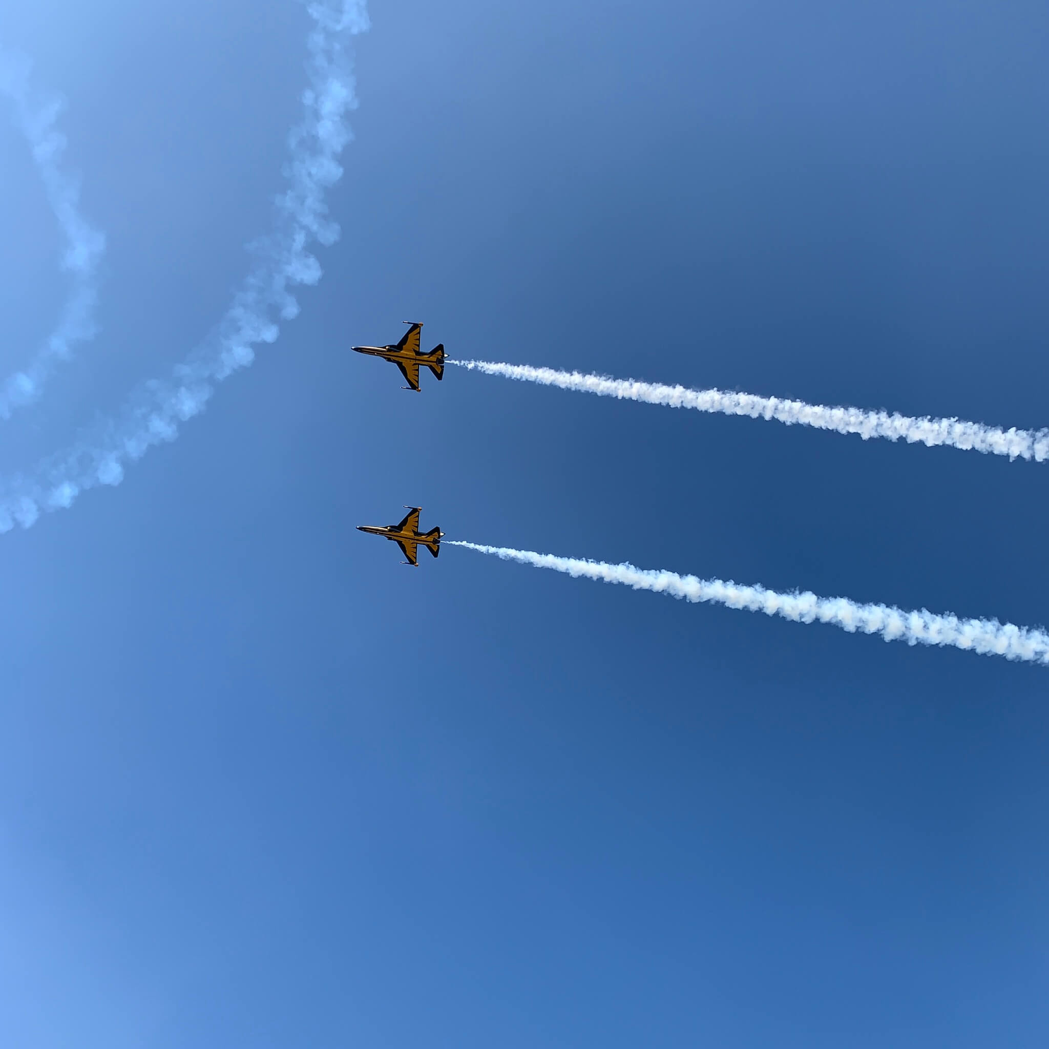 Two fighters in the sky.